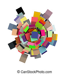 3d render concentric cubes in multiple colors on white