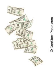 Isolated floating American hundred notes isolated - Floating...