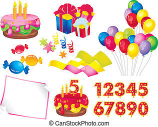 Birthday set - celebration set: a cake with candles, gift...