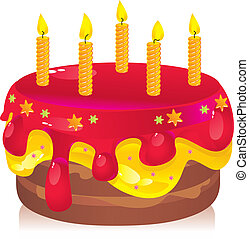 birthday cake - colorful birthday cake with candles