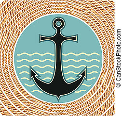 Nautical anchor symbol with rope frame decoration on white...