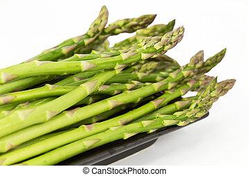 Asparagus Spears - Fresh asparagus spears, close up on long,...