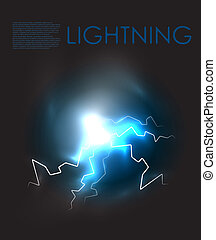 Vector abstract lightning background - Lightning bolt energy...
