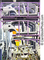 spare car parts in a factory