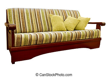 Striped green and brown sofa with fabric upholstery isolated...