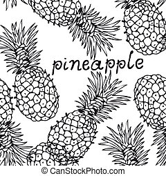 Pineapple background - Vector seamless background with the...