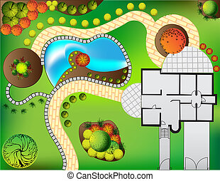 Plan of garden with tree symbols - Plan of garden