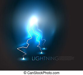 Vector abstract lighning background - Lightning bolt energy...