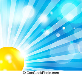 Sun and sky background - Vector nature skyscape abstratc...