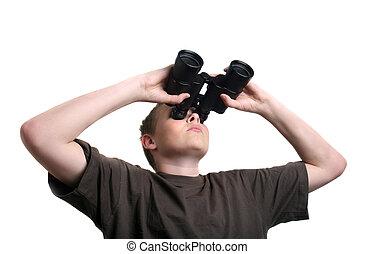 boy with binoculars