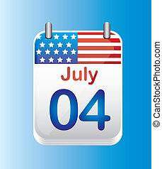 july 4 calendar, independence day vector illustration