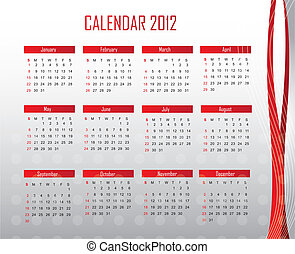 calendar 2012 - red and silver calendar 2012 background...