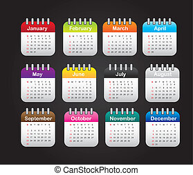 months calendar over black background vector illustration