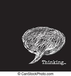 thinking - thought bubble drawing over black background,...