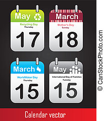 special days calendars over black background. vector...