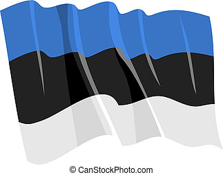 Political waving flag of Estonia