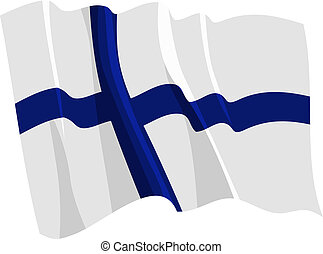 Political waving flag of Finland