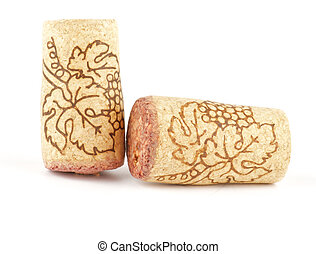 Two Wine corks isolated on white background