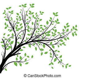 vector decorative branch silhouette - vector - decorative...
