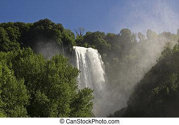 paisagem, cascata, Marmore, Terni, Úmbria,...