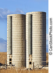 twin farm silos - two old cylindrical silos on an abandoned...