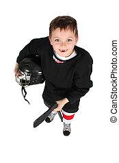Ice Hockey Boy - Young boy in ice hockey gear against white