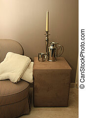 Interior design: classic chair and accessories in silver -...