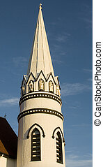 Church Spire - Church spire against a blue sky in Canada