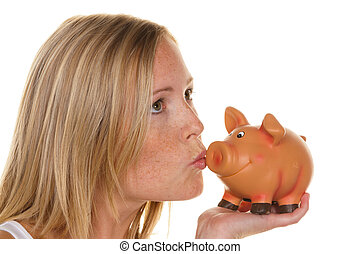 a young woman saves money and coins for the future. care and save.