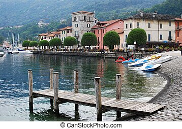Orta lake, Italy - Small Pella village on Orta lake,...