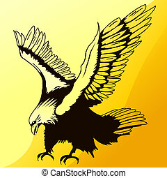 Landing Eagle Silhouette - Illustration of Majestic Eagle...
