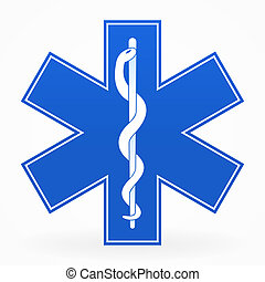 Blue Medical Sign - Blue Healthcare Illustration with snake...