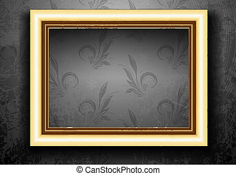 Golden Frame on Grunge Wall with Vintage Wallpaper