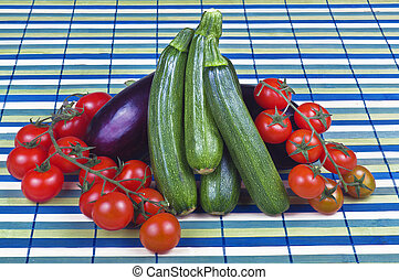 Zucchini tomatoes and eggplant close up