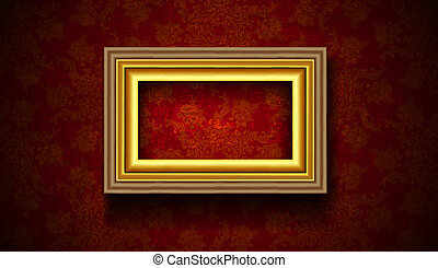 Vintage Picture Frame on Grunge Red Background