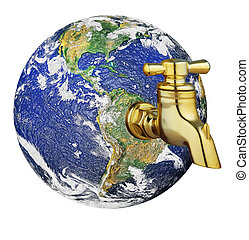 Water crisis droplet with world