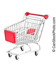 Empty shopping cart - Single empty shopping cart isolated on...