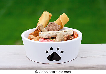 Dog food in dog bowl  - Dog food a in dog bowl