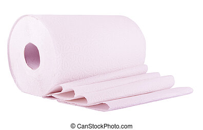 Pink paper roll  on the white