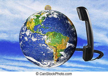 phone with Earth globe close up