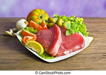 raw tuna steak with spice