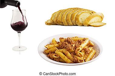 cibo,  collage, bianco, italiano