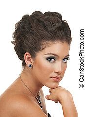 Hair, Make Up and Jewelry - Young woman with beautiful make...