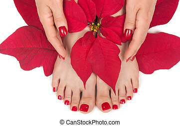 Pedispa - Spa with manicured hands and pedicured feet
