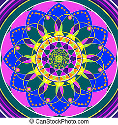 Floral mandala, geometric drawing sacred circle - Floral...