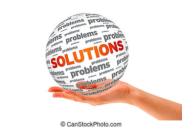 Hand holding a Solutions 3D Sphere sign on white background