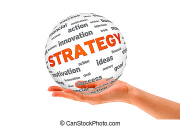 Hand holding a Strategy 3D Sphere sign on white background.