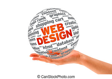 Hand holding a  Web Design 3D Sphere on white background.