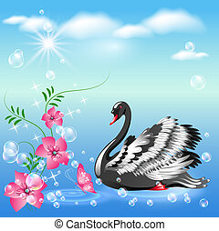 Swan and  flowers - Elegant black swan and  flowers