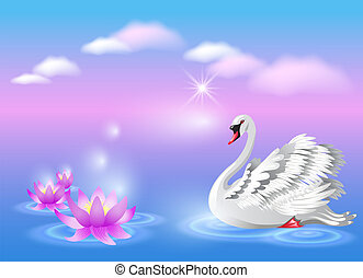 Swan and lily - Elegant white swan and lily